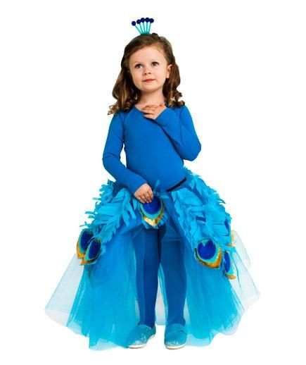 24 Homemade Kids' Halloween Costumes: No-Sew DIY Turquoise Peacock #costume