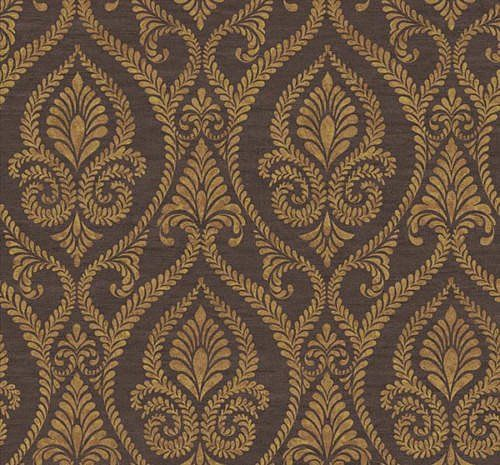 Stunning Designer Damask On Brown Wallpaper ABA8305