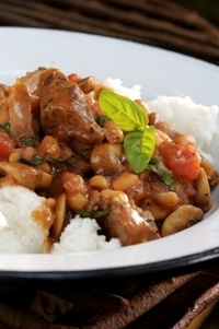 Sausages and beans with basil  from Food from the heart. Courtesy of Lapa Publishers, photo by Adriaan Vorster