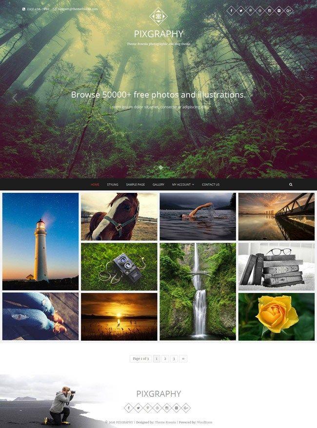 Pixgraphy : Photography Wordpress Theme Free Download