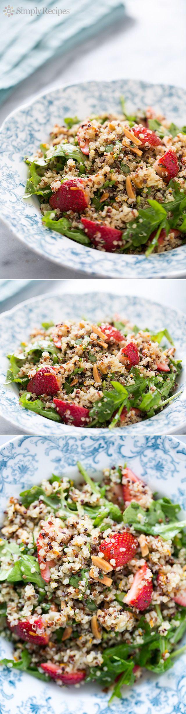 Strawberry Arugula Quinoa Salad ~ Quinoa salad with fresh strawberries, arugula, toasted almonds, mint and a citrus vinaigrette  #MemorialDay #potluck ~ SimplyRecipes.com
