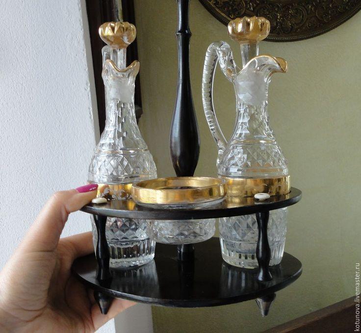 Купить Бидермеер Менажница 1860-1880гг. Ограненый хрусталь. Дерево - старинное стекло, антиквариат, золотой