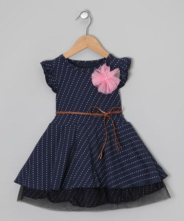 Another great find on #zulily! Navy & White Polka Dot Belted Dress - Toddler & Girls #zulilyfinds