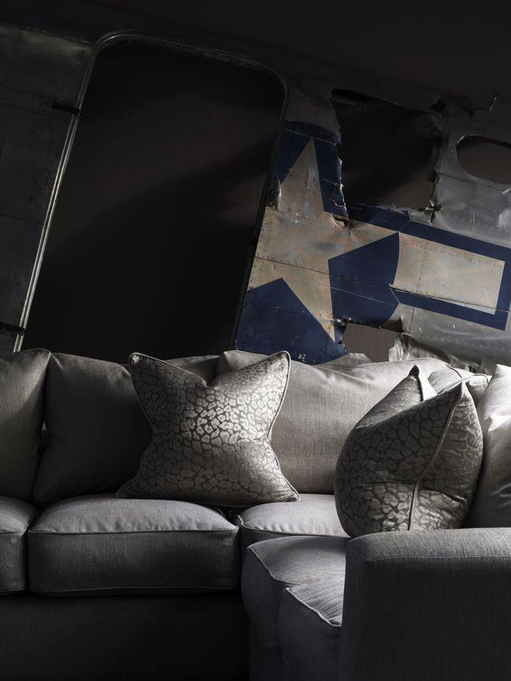 #andrewmartin #interiordesign #sectional #design #pattern #textile #vintage #rustic #grey