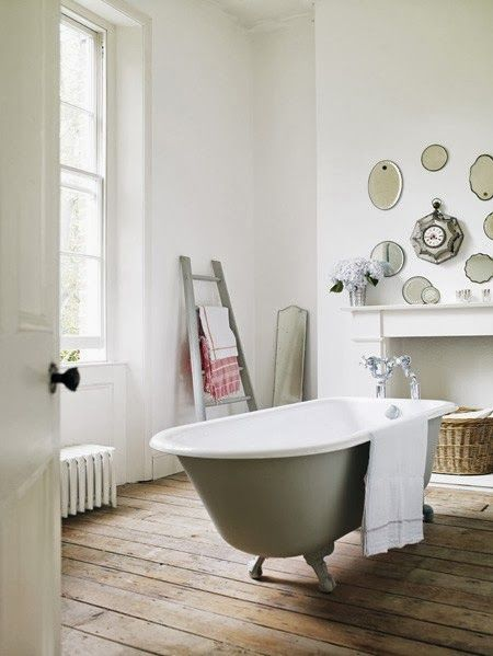 All white bathroom with roll top bath in Farrow and Ball Lamp Room Gray. More details on Modern Country Style blog: Colour Study: Farrow and Ball Lamp Room Gray