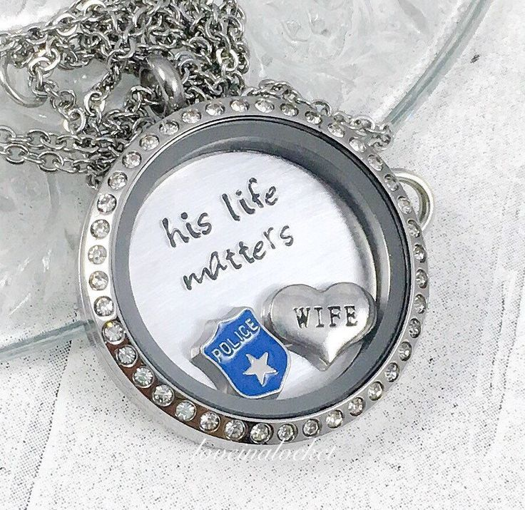 This hand stamped his life matters floating locket necklace is the perfect for a police/cop wife or girlfriend! Made with love just for her ❤️  🌟🌟Please read all info below. All the details on how to purchase your locket, as well as answers to many of your questions, are included here! Included in this listing: -30 mm stainless steel twist locket with or without rhinestones (chosen in drop down menu, see photo 3)  -Stainless steel fine oval link chain with lobster clasp, at length of y...