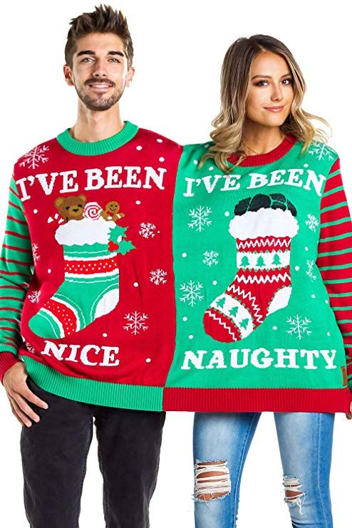 d650e7e1d5 Tipsy Elves Men's and Women's Two Person Ugly Christmas Sweater - Conjoined  Twin Couples Christmas Sweater