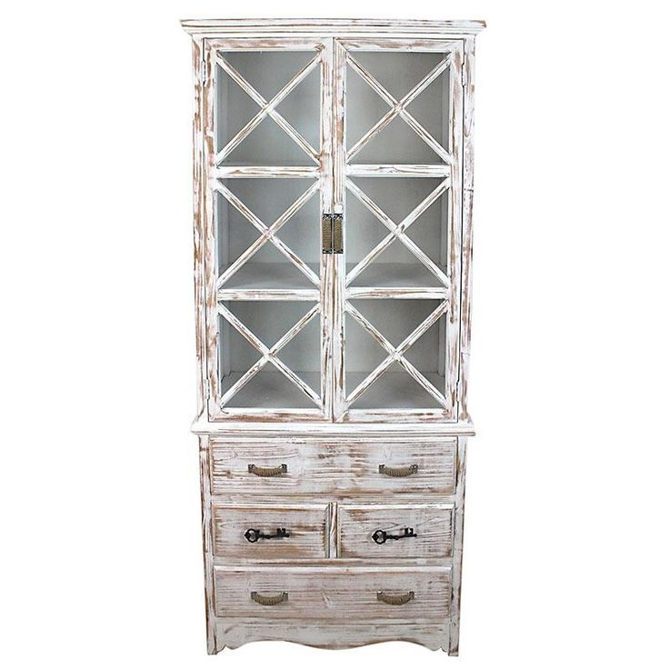 WOODEN DRAWER IN WHITE/BEIGE COLOR 74Χ35Χ168 - Showcases - Closets - FURNITURE