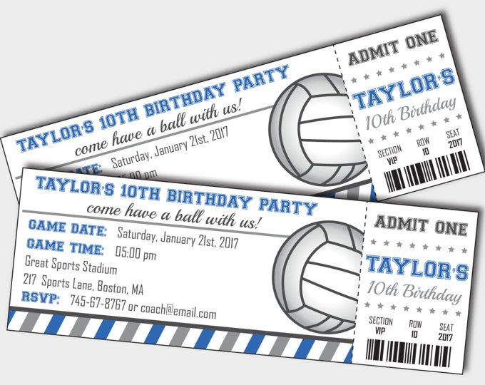 Volleyball Invitation - Volleyball Party - Volleyball Birthday - Ticket Invitation - Printable Invitation - Personalized (Instant Download)