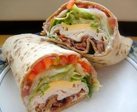 best healthy recipes in the world: TURKEY RANCH CLUB WRAP it looks so yummy