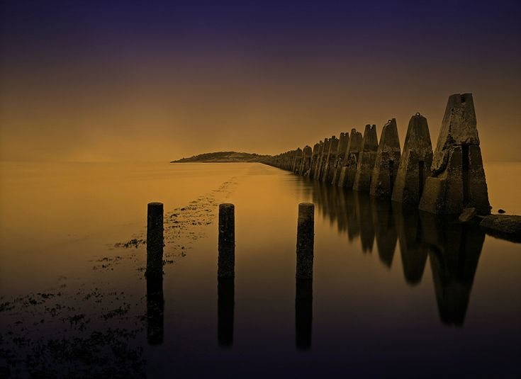 Великобритания Шотландия Море Эдинбург Cramond Ночь Ночные Природа