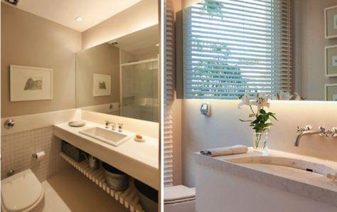 Banheiros com iluminação embutida atrás do espelho