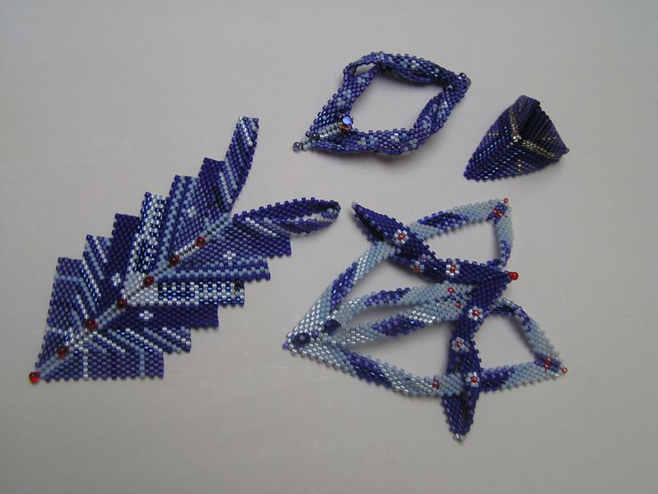Contemporary Geometric Beadwork In Blue