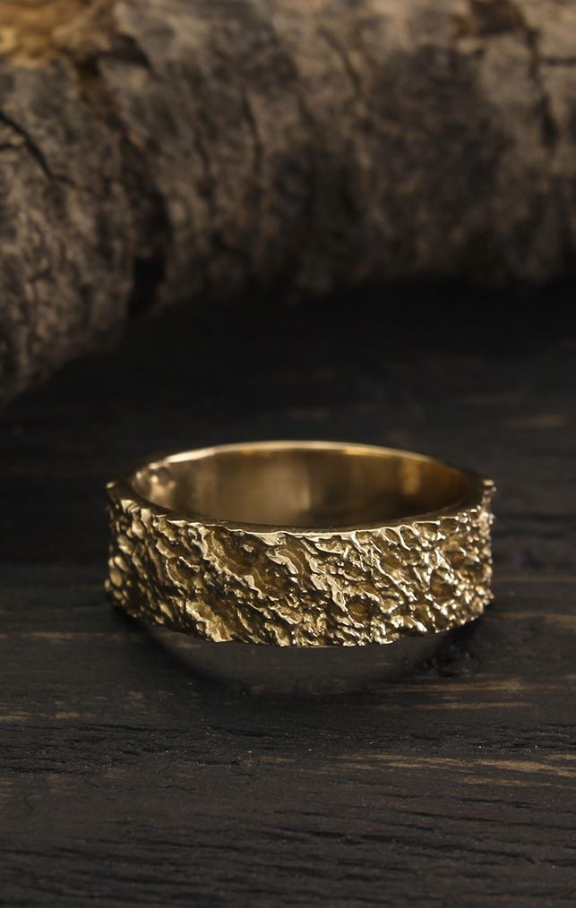 Volcanic Mens Yellow Gold Band Wild Relief Band Lava Wedding Ring