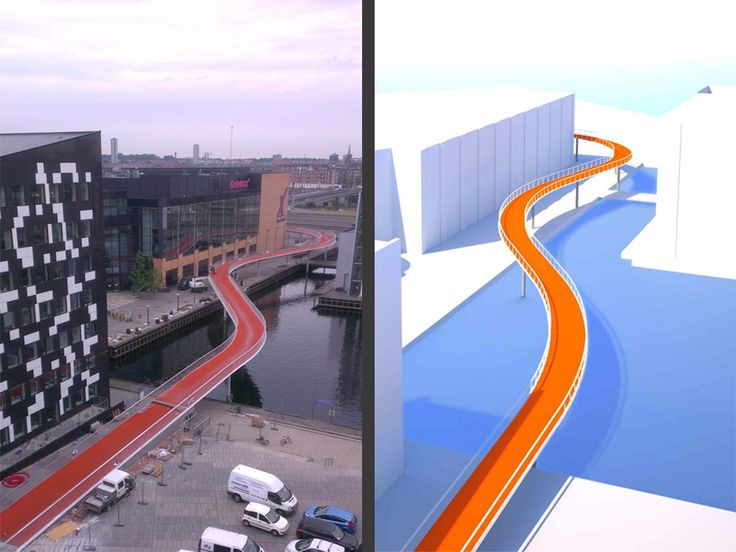 Copenhagen's New Bike Skyway Makes Commuting Look Fun | The majority of Copenhagen's bicycle lanes follow the roads' grid patterns. Cykelslagen's curves are unusual for the cityscape. DISSING WEITLING | WIRED.com