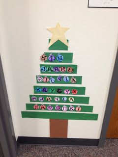 Kids Name Ornaments on strips of green bulletin board paper, add star to top and brown stump to bottom.