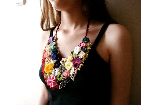 Colorful Fabric flower necklace Multi colored Statement door seragun, $78.00