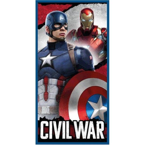 Badehåndklæde med Captain America og Ironman. 100% bomuld