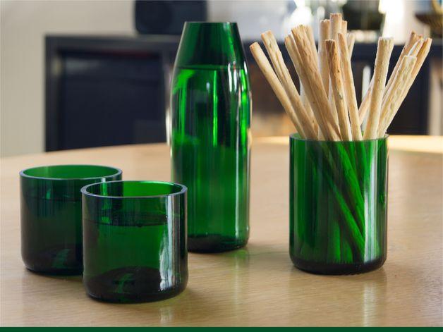 88 best gl serne transparenz gl ser aus flaschen upcycling images on pinterest upcycle. Black Bedroom Furniture Sets. Home Design Ideas