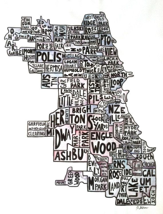 Original Chicago Neighborhood Map Watercolor Painting By Jaschlos - Chicago neighborhood map art