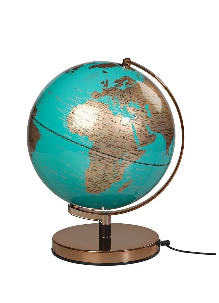 See The World See The Light This Terrestrial Globe Lamp Is Lit With An Led To Use 90 Less Energy Than Traditional I Blue And Copper Globe Lights Globe Lamps