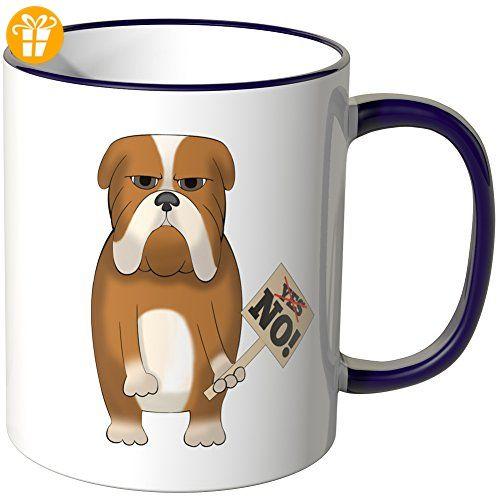 Wandkings® Tasse, Motiv: Mürrischer Hund mit Schild - LILA - Tassen mit Spruch   Lustige Kaffeebecher (*Partner-Link)