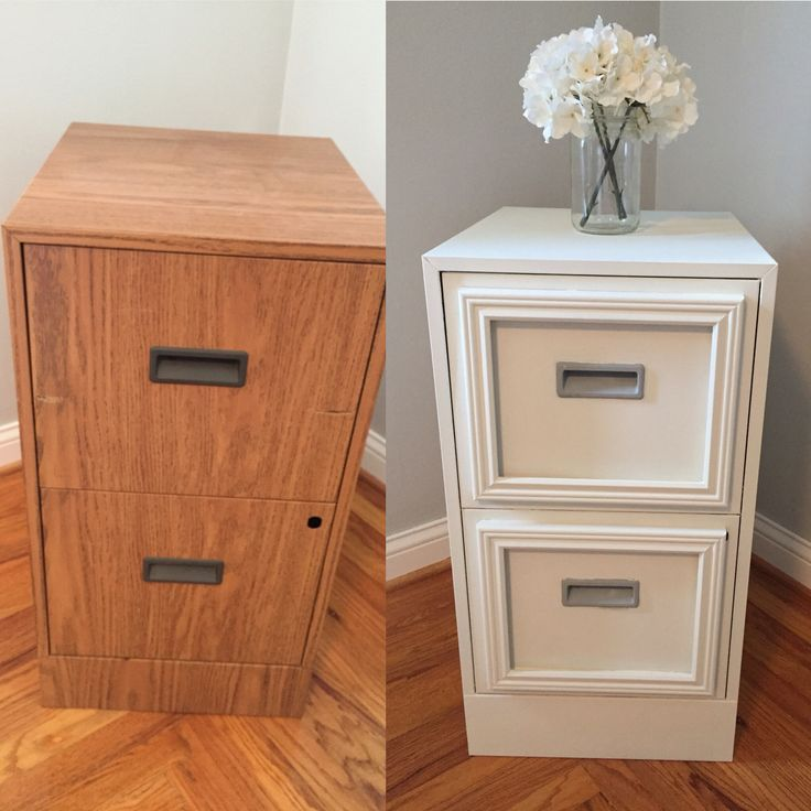 File cabinet makeover! Took out the lock, epoxy-ed cheap 8x10 frames to the front, and painted with chalky finish paint! :)
