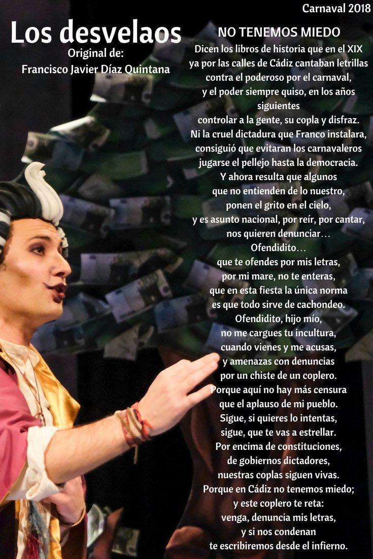 """COMPARSA LOS DESVELAOS: Letra y música: Francisco Javier Díaz Quintana - Dirección: Alejandro García Payán -Localidad: Cádiz - Nombre en 2017: """"El Rinconcito de los Milagros"""" (cuartos de final)."""