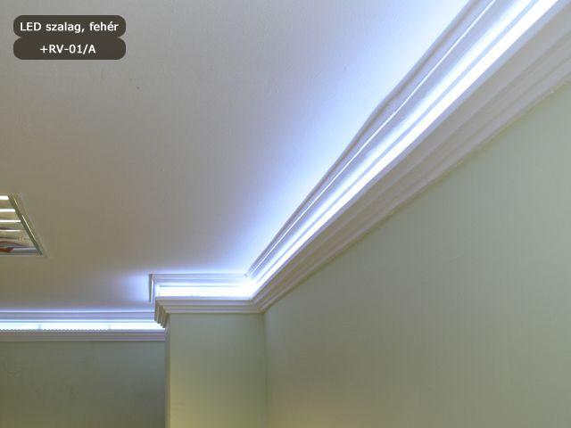 RV-01/A mennyezeti rejtett világítás díszléc + LED szalag hidegfehér színben
