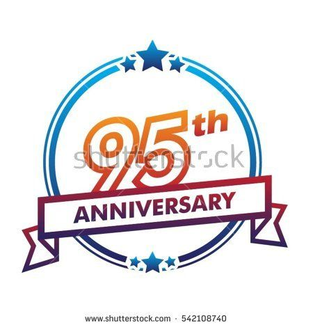 blue circle and star with purple ribbon 95th anniversary design vector