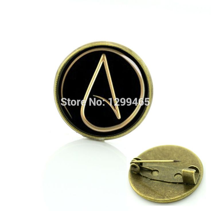 Atheism movement logo badge atheist Atom symbol metal pin steam punk metatrons cube Legend Triangle men women brooches T524 #Affiliate