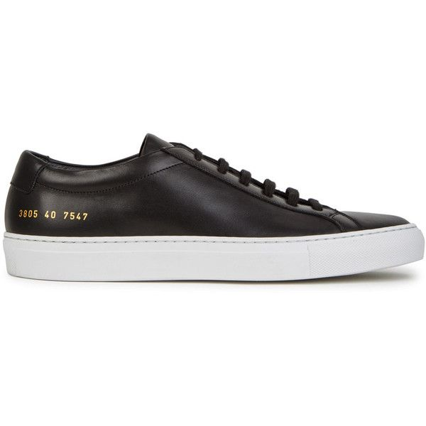 Common Projects Achilles black leather trainers (510 AUD) ❤ liked on Polyvore featuring shoes, sneakers, black leather sneakers, black lace up sneakers, lace up sneakers, black sneakers and black leather trainers