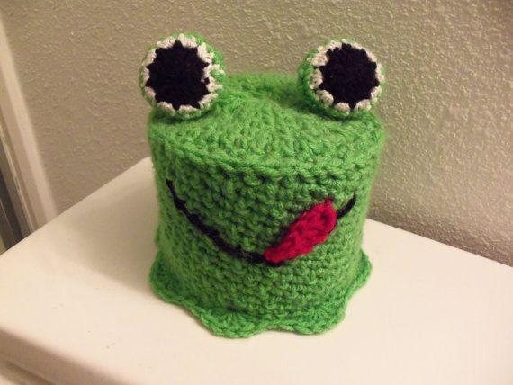Crochet Green Frog Toilet Tissue Roll Cover by WolfArtStudio