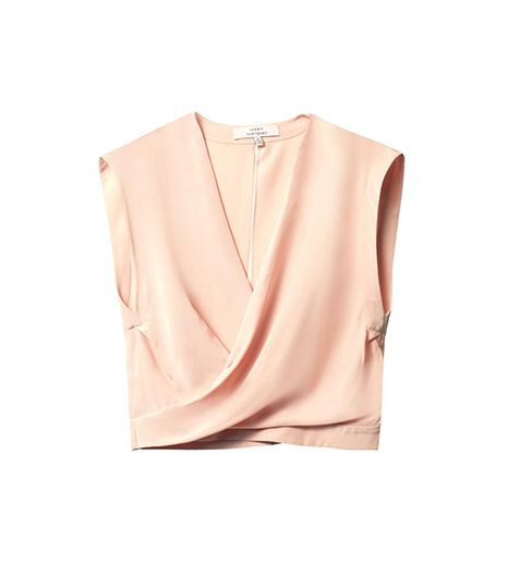 @Who What Wear - A skin-baring crop top feels slightly tamer in a sweet peach color. ​Robert Rodriguez Wrap-Front Silk Top ($396)