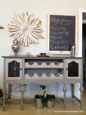 Repurposed Antique Buffet Turned Wine Rack By Kevin And Veronica Of Bliss Blossom Designs