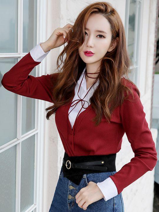 StyleOnme_V-Neck Layered Collared Shirt #wine #red #koreanfashion #kstyle #kfashion #dailylook #stylish #falltrend
