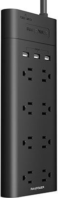 RAVPower Surge Protector, 8-Outlet, 700 Joules and 3 USB Charging Ports