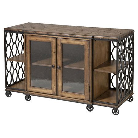 Console table with a rustic wood top and latticed metal panels.   Product: Console tableConstruction Material: Wood,...