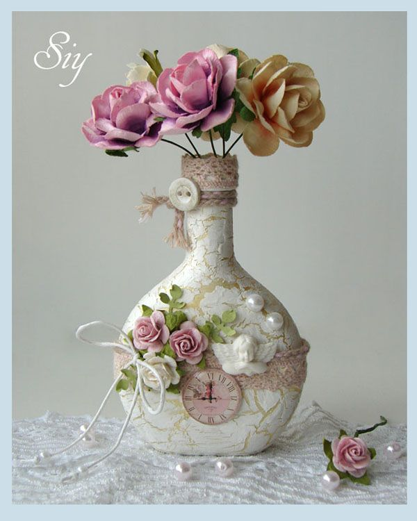lovely shabby chic - recycled bottle - diy