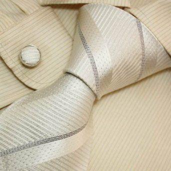 White striped silk ties for men silver anniversary gifts formalwear silk tie cuff links set A1007
