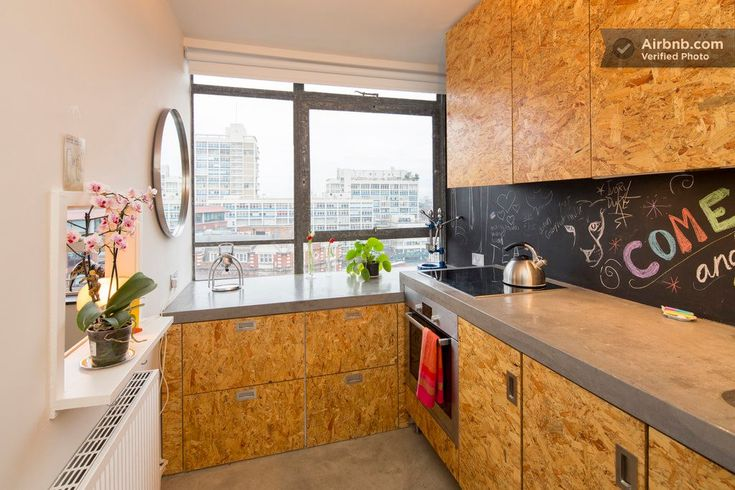 Concrete worktop / OSB doors