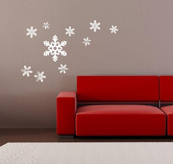 Ces jolies flocons viennent se déposer délicatement sur vos murs pour donner une touche hivernale à stickers murauxhivernalfloconsvotredeco