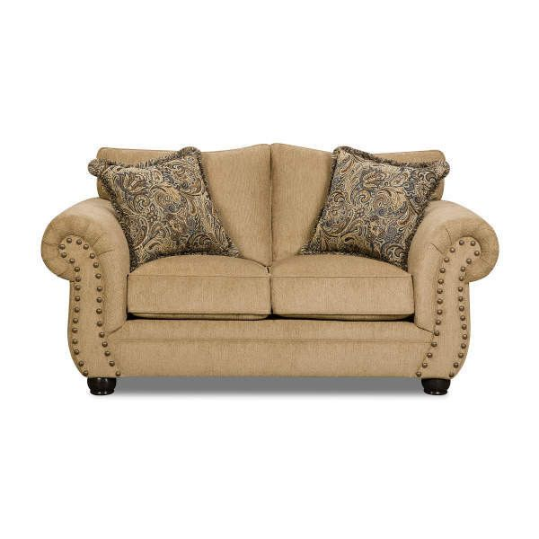 Simmons Morgan Antique Memory Foam Loveseat ❤ liked on Polyvore featuring home, furniture, sofas, antique love seat, simmons sofa, simmons couch, antique couch and memory foam couch