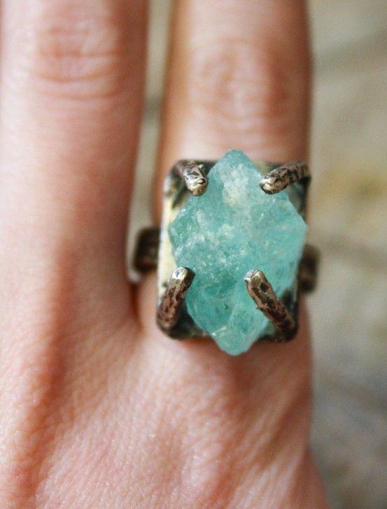 Raw Aquamarine Ring
