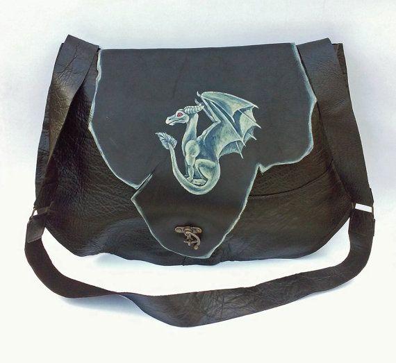 Dragon leather bag patchwork renaissance by GloberinaDesign