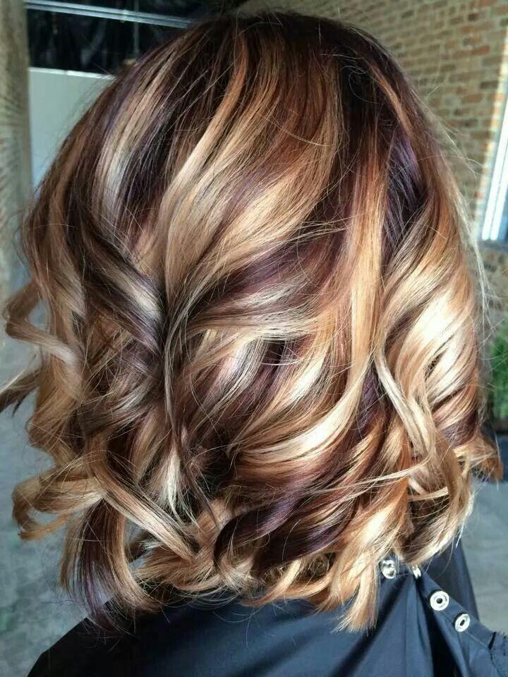 Autumn swirls - Cherry cola lowlights with blonde highlights.