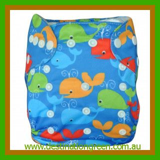 Modern Cloth Nappy - Whale, $14.95