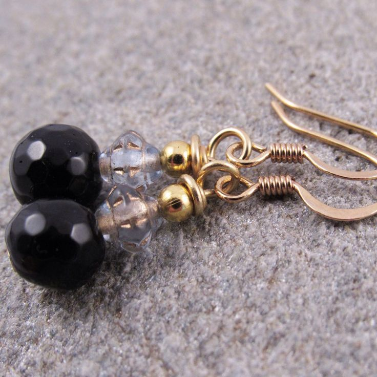 New gold plated designs! This is made with black agate beads and it's available in three more colors!