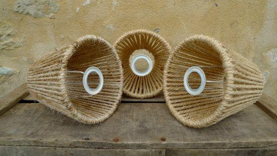 Naturelle abat jour lampe abat-jour abat-jour années 1970 phare ombre légère cordon macramé vintage Hesse chanvre jute