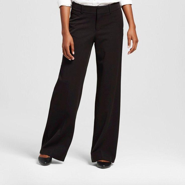 Women's Wide Leg Trouser Pant Black 18 - Merona
